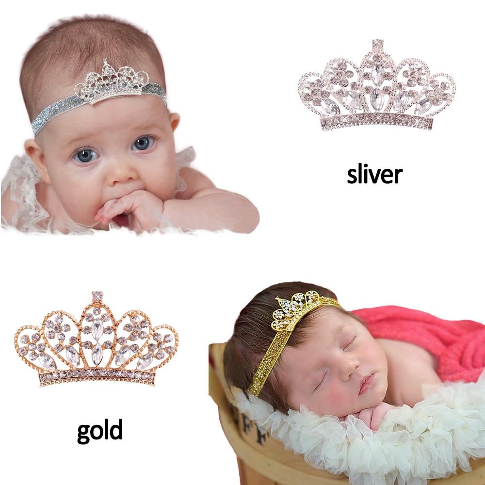 Vintage prinses goud en zilver Crown elastische hoofdband Baby meisje haaraccessoires Tiara baby haarbanden pasgeboren hoofdbanden foto's
