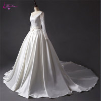 Waulizane New Arrival Lustrous Satin V Neck A Line Wedding Dress Floor Length Sexy Backless Elegant