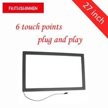 27 polegada ir moldura da tela de toque frame de tela multi touch 6 pontos kit sobreposição de tela de toque ir sem vidro
