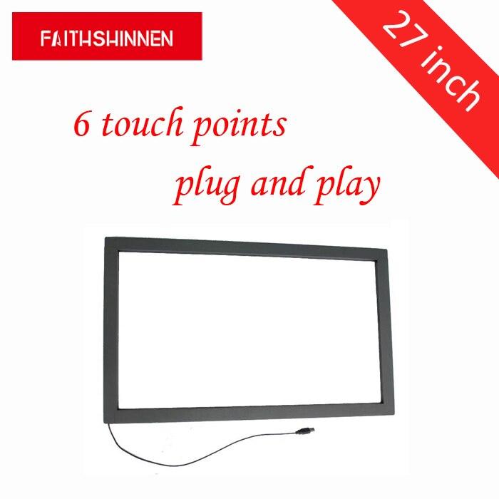 27 pollici di tocco di ir cornice dello schermo multi touch 6 punti cornice dello schermo kit di sovrapposizione ir touch screen con vetro