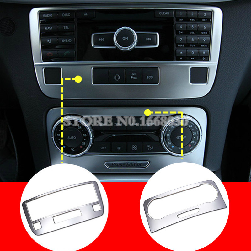 Interior Center Console CD Panel Trim Cover 2pcs For Benz GLK X204 2013 2015-in Interior Mouldings from Automobiles & Motorcycles    1