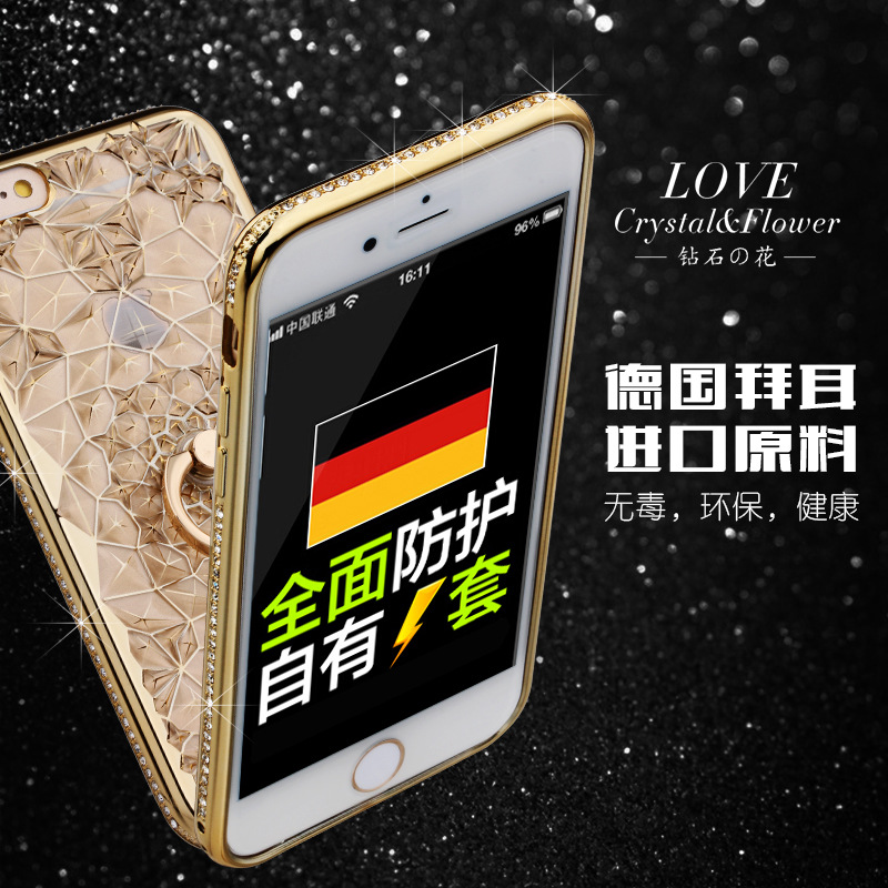 HTB1eUgSQ3HqK1RjSZFEq6AGMXXaQ For iPhone 11 Pro XS Max XR Case Luxury 3D Soft Ring Capa For iPhone 5 6 6S 7 8 Plus Ring Silicon Glitter Rhinestone Stand Cover