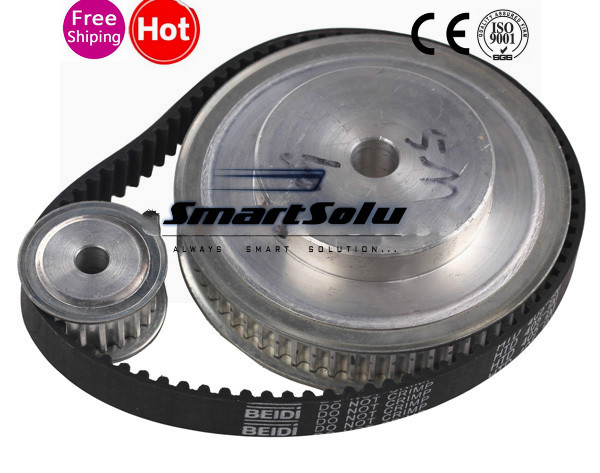 5 M pas Nema23 Stepper Motor Timing poulie, Alésage de l'arbre et ceinture ensemble, Ratio 3:1 réducteur pour le bricolage CNC routeur
