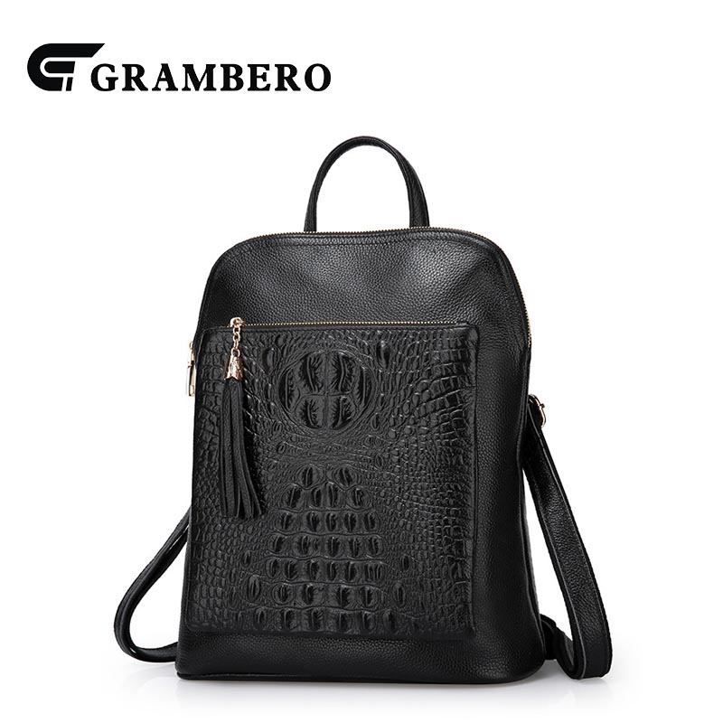 Fashion Soft Crocodile Texture Top Layer Leather Backpack Multifunction Genuine Leather Women Shoulder Bag Sent Friend Bags Gift
