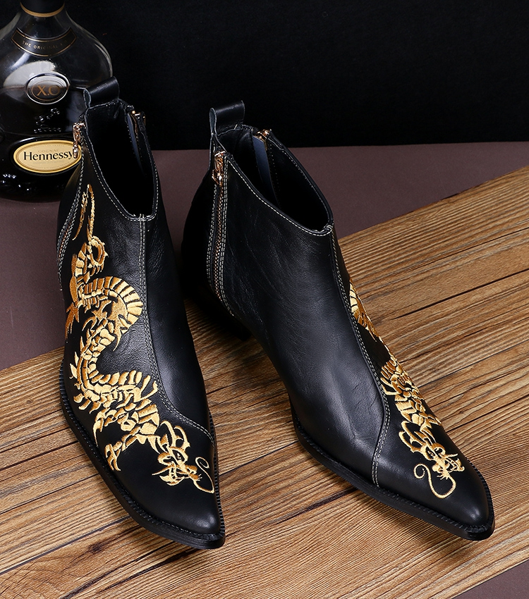 2016 Italian style men's cowhide leather ankle boots short pointed embroidery leather shoes Black dragon print cool boots men 46 худи print bar electro dragon