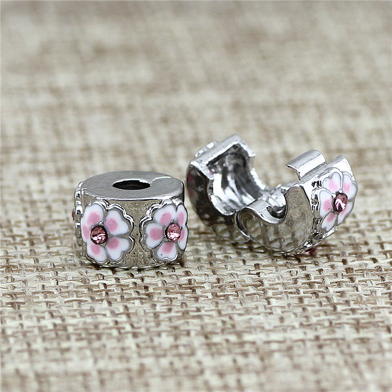 2 style Safety Stopper pave peach blossom Beads fit for Pandora style bracelets for jewelry making Charms Bracelets for Women