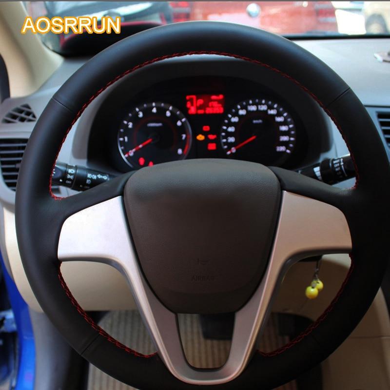 AOSRRUN genuine leather car steering wheel <font><b>cover</b></font> Car accessories For <font><b>Hyundai</b></font> Solaris i20 2009-2013