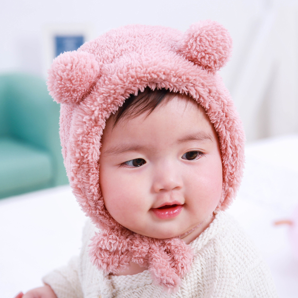 DreamShining Cute Cartoon Bear Baby Hat Solid Cotton Infant Caps Thick Winter Warm Boys Girls Hats Beanies Newborn Caps