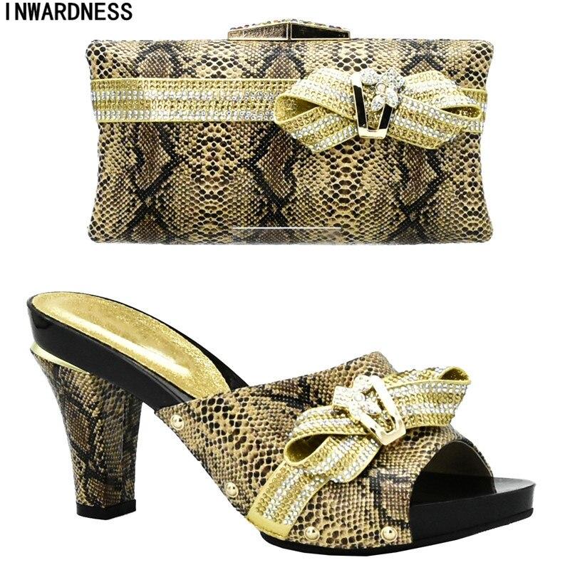 In Strass Italienische Schwarzes Passenden Damen Und Mit gelb Sets Frauen rosa Set gold Tasche silber Taschen rot Verkäufe Schuhe qfSx8