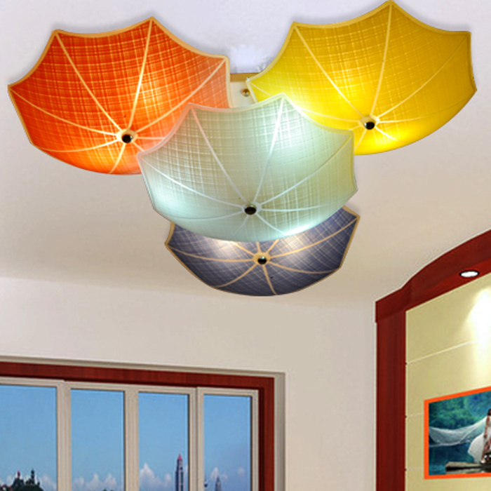 Modern Children Bedroom Ceiling Lamps Multicolour Umbrella Glass Lampshade Kids Room Lights E27 led Lamparas De Techo 110v 220v creative star moon lampshade ceiling light 85 265v 24w led child baby room ceiling lamps foyer bedroom decoration lights