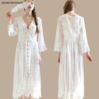Embroidery White Sheer Nightgown Bridesmaids Princess Long Sleeve Night Gown Long Ladies Nightdress Sleep Dress nacht kleding