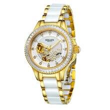 SOLLEN подлинная керамическая автоматические механические часы водонепроницаемые часы женщины моды часы женские часы полый женский бабочки