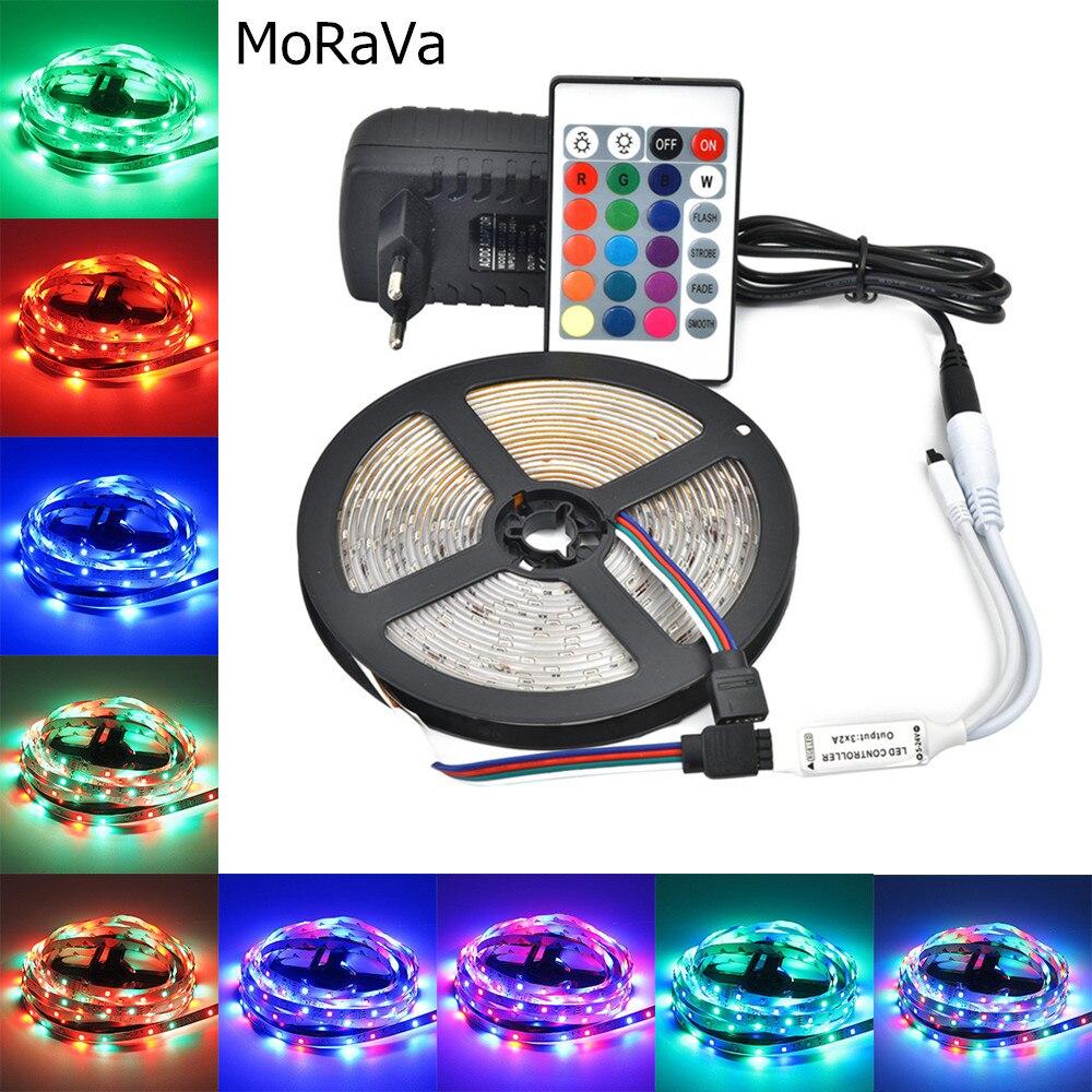 LED luces de tira de 5M RGB SMD 2835 cinta Flexible RGB con control