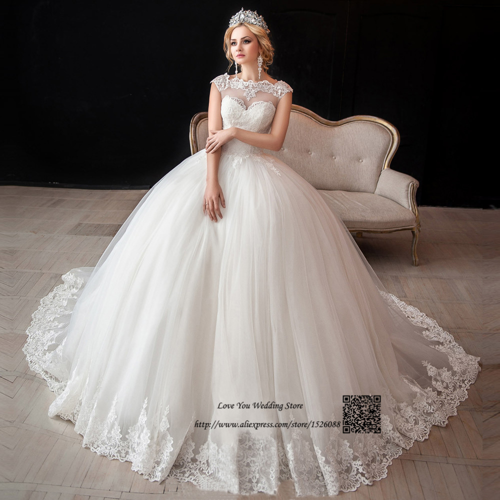 Cap Sleeve Lace Wedding Gown: Gelinlik Boho Wedding Dress Ball Gown Bride Dresses Lace