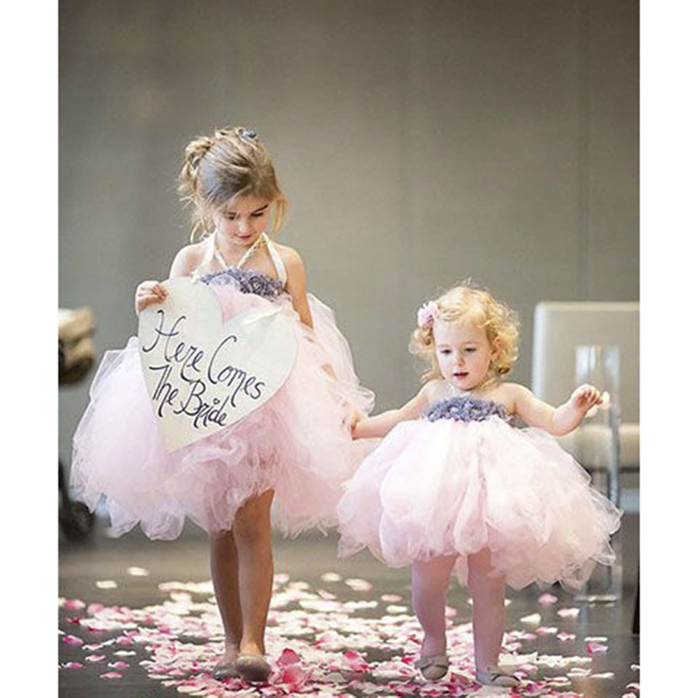 Flower Girl Dress Pink Ivory Grey Baby Girls Dress Toddler