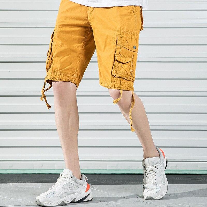 Homens calça Casual 2019 Novo Verão Calças Retas Solto Selvagem Esportes Dos Homens Macacões Zipper Mid Rise Roupas Rua Namoro férias - 5