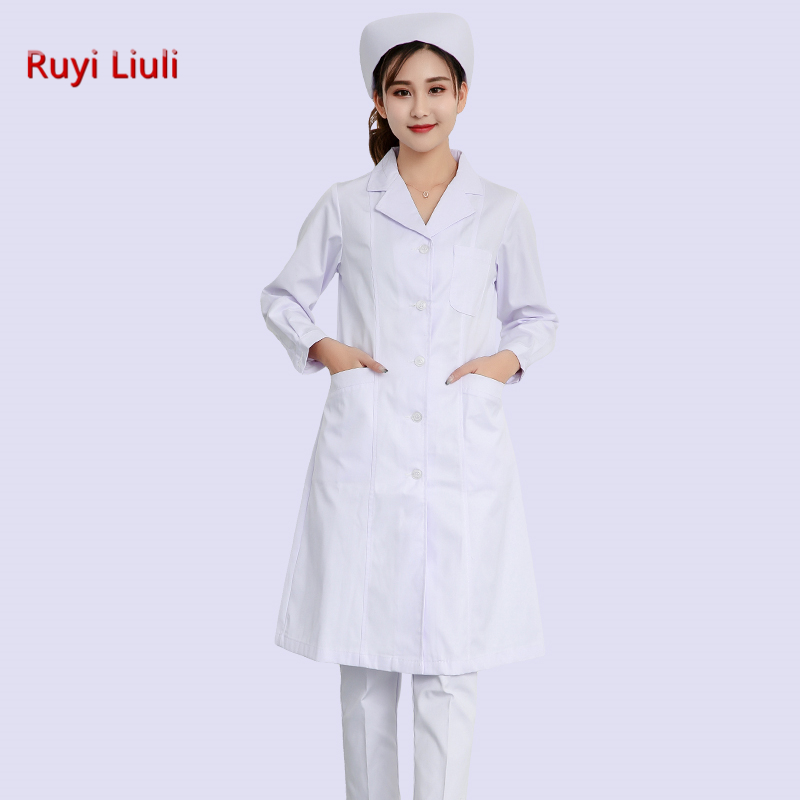Long sleeves in white gown long style for women doctors uniform for nurses classic style for doctors in Lab Coats from Novelty Special Use