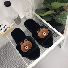 Autumn and winter new fashion suede cartoon doll bear indoor slippers ladies home floor slippers optional match.(China)