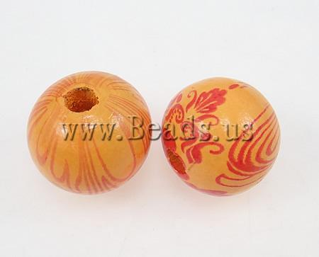Free shipping!!!Wood Beads,Lucky Jewelry, Round, water transfer painting, orange, 20mm, Hole:Approx 5mm, 100PCs/Bag, Sold By Bag