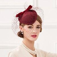 NEW Veil Women Fascinator Formal hats Wool Hat Wedding Cocktail Party Formal Dress Hats Elegant black hat Tea Party Headwewar