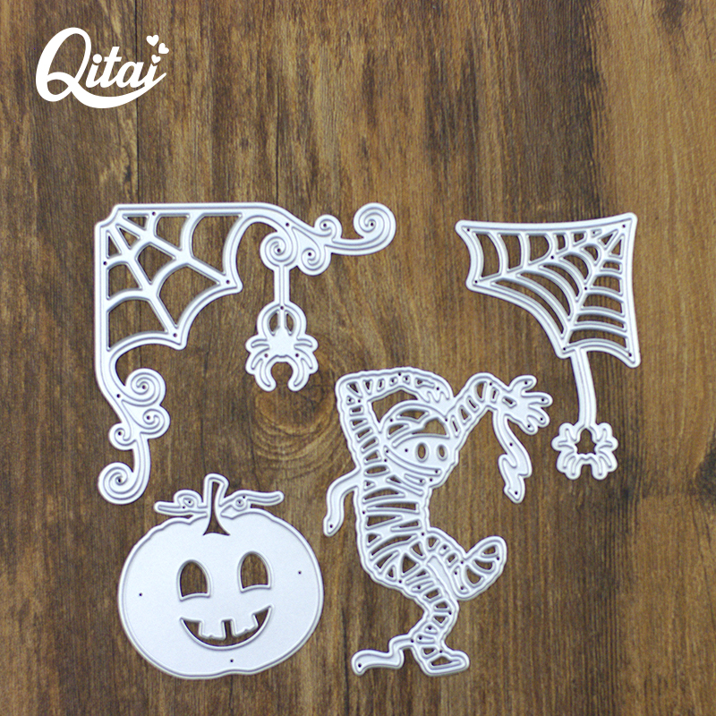 QITAI 4pieces Tool Template Cutting Dies Scrapbooking DIY AllHallowsDay Decorations pumpkin lante Production High Quality D179