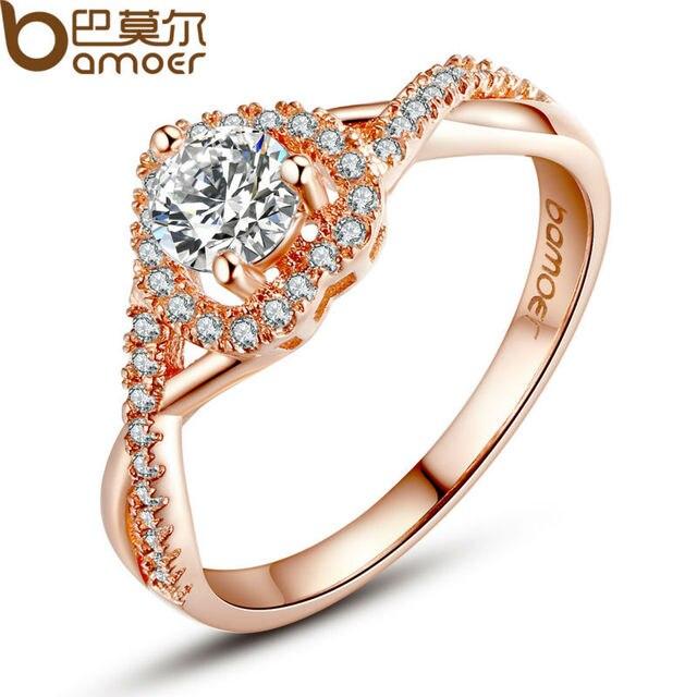 Bamoer настоящее 18 К роуз позолоченные форме сердца кольцо для женщин с искусственным микро AAA CZ ювелирные изделия JIR027