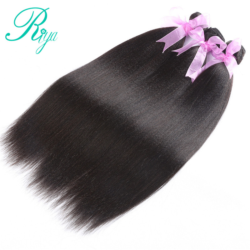 Image 2 - Riya Hair Brazilian Light Yaki Human Hair 3 Bundles 100% Human Hair Weave Natural Color 100% Remy Hair Extensions Free part-in 3/4 Bundles from Hair Extensions & Wigs