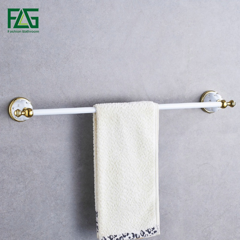 FLG porte-serviettes simple porte-serviettes porte-serviettes en laiton massif et cristal fait blanc et doré finition accessoires de salle de bain livraison gratuite