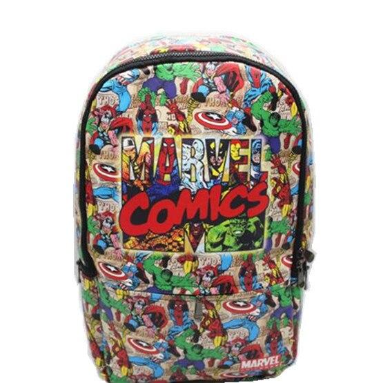 Super héros sac à dos PU cuir Marvel Comics ordinateur école livre sac 42x30x12 cm-in Sacs à dos from Baggages et sacs    1