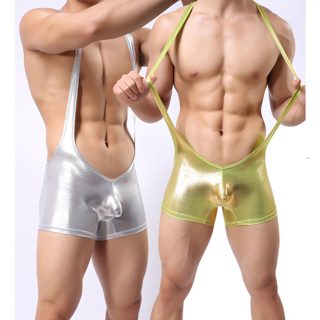 Retail Wetlook Gold Silver Boxer Underwear Patent Leather Jumpsuit Mens  Wrestling Singlet Tight Sexy Stretch Pants Catsuit