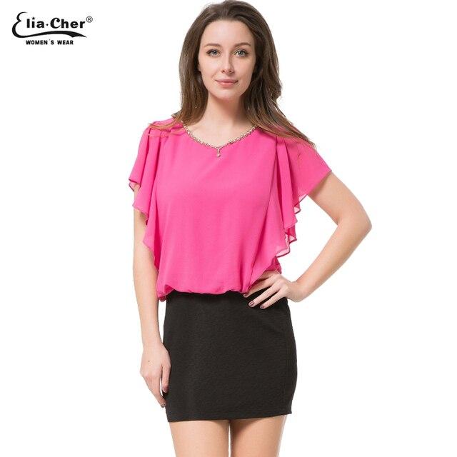 a1c5522922dd5 Summer blouses 2017 Women Sleeveless Tops Eliacher Brand Plus Size Women  Clothing Chic Elegant O-NeckLady Shirts Top 8919