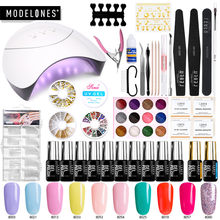 Modelones 37Pcs/Lot 36W Led Lamp Nail Art Kits Professional Full Nail Manicure Tools Nail Gel Polish Set Smart Sensor Nail Dryer(China)