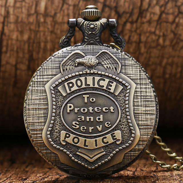 Steampunk Pocket Vintage Bronze Police to Protect and Serve Watch