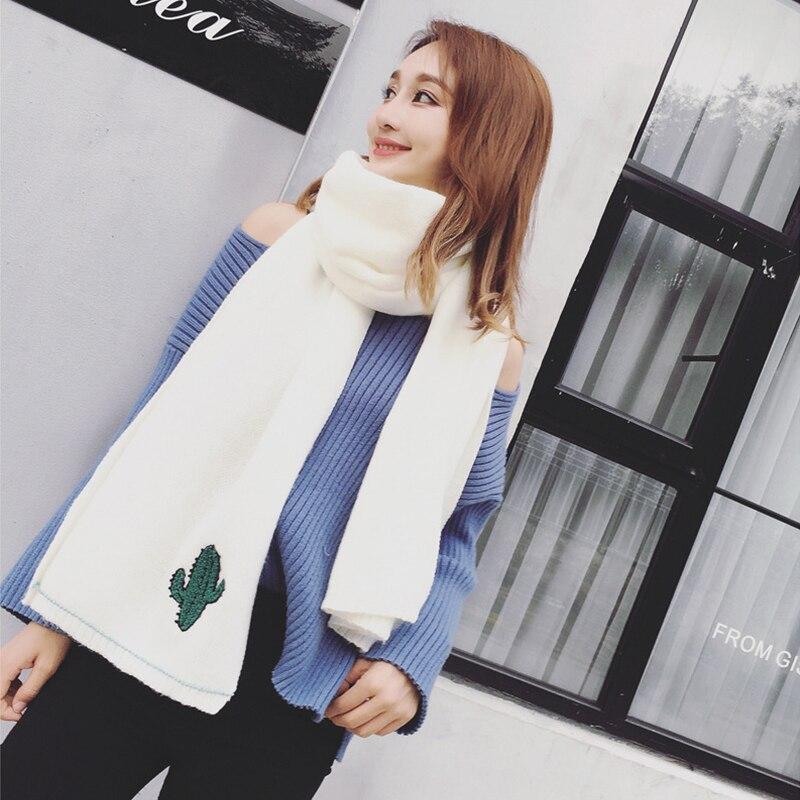 20f772854294 Mingjiebihuo Die Koreanische neue mode stricken wolle schal weibliche  herbst winter kaktus stickerei warme bequeme weiche frische schal