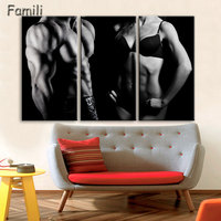 3pcs Boy Dumbbells Sports Exercising Bodybuilding Fitness Motivational Printed Canvas Painting Poster Fabric For Gym Pictures