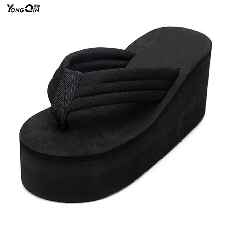 Summer Fashion Ultra High Heels Slip-resistant Flip Flops Platform Sandals  Wedges Slippers Female