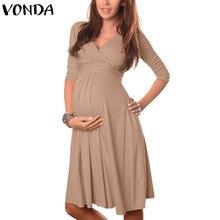VONDA Одежда для беременных 2018 Лето Платье для беременных женщин Повседневное сексуальное v-образный вырез 3/4 рукав однотонный А-силуэт платья Vestidos плюс размер