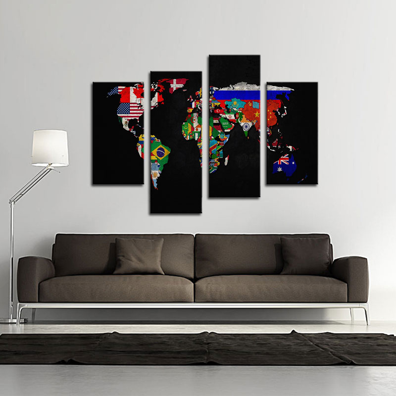 Panels Abstract World Map Painting Black Background Map Picture - World map for home