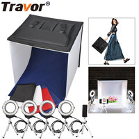 Travor New Studio Diffuse Soft Box Foldable With 4PCS Ring LED Light/5PCS Selfie Tripod For Camera Phone Studio Photography