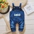 Meninas Do Bebê verão Denim Jenas Carta Crianças Macacão Calça Infantil Meninos Completos Calça Casual roupas de bebe