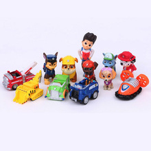 12pcs set Canine Patrol Dog Toys Russian Anime Doll Action Figures Car Patrol Puppy Toy Gift