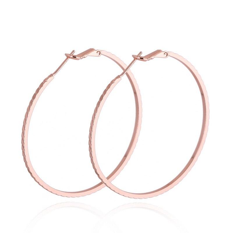 LASPERAL 2018 Rose Gold Big Hoop Earrings Basketball Wives Round Earrings Simple Summer Women Circle Earrings Jewelry Party