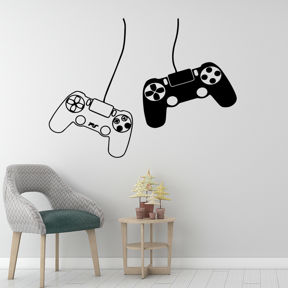 Excellent Game Handle Wall Stickers Self Adhesive Art Wallpaper For Children Boys Room Art Decals Sticker Bedroom Vinyl Mural in Wall Stickers from Home Garden