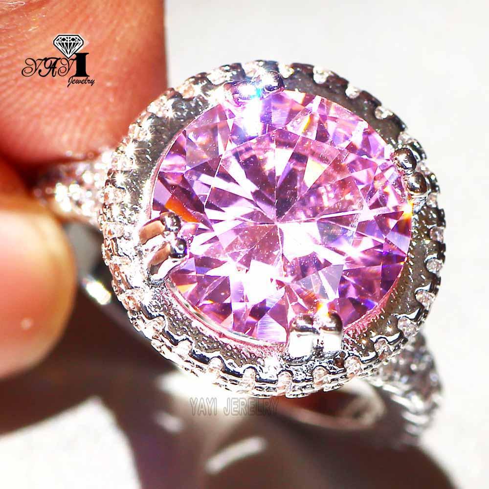 YaYI Jewelry Fashion Princess Cut 6.3 CT Pink Zircon Silver Color ...