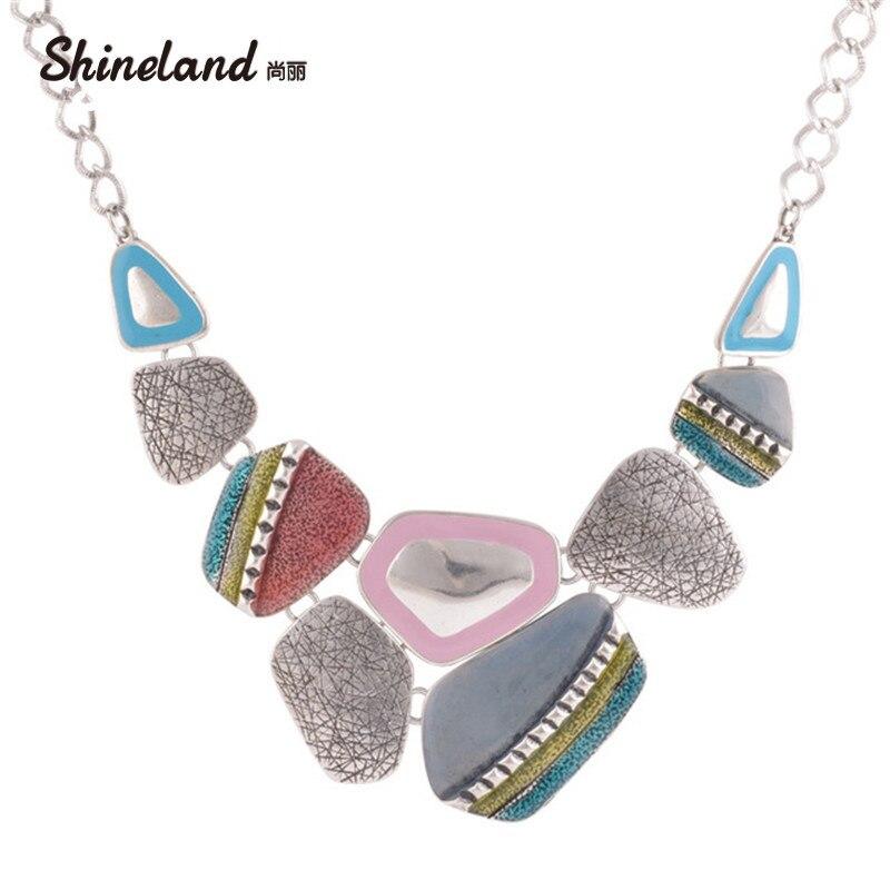 2018 Mode Ethnische Vintage Antike Silber Überzogene Bunte Emaillieren Geometrische Anhänger Choker Erklärung Halsketten Bijoux