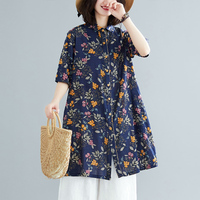 Korean version Plus Size Blouse Tunic 2019 New Printed Femininas summer Short sleeve Cotton Linen Shirt Tops aa873