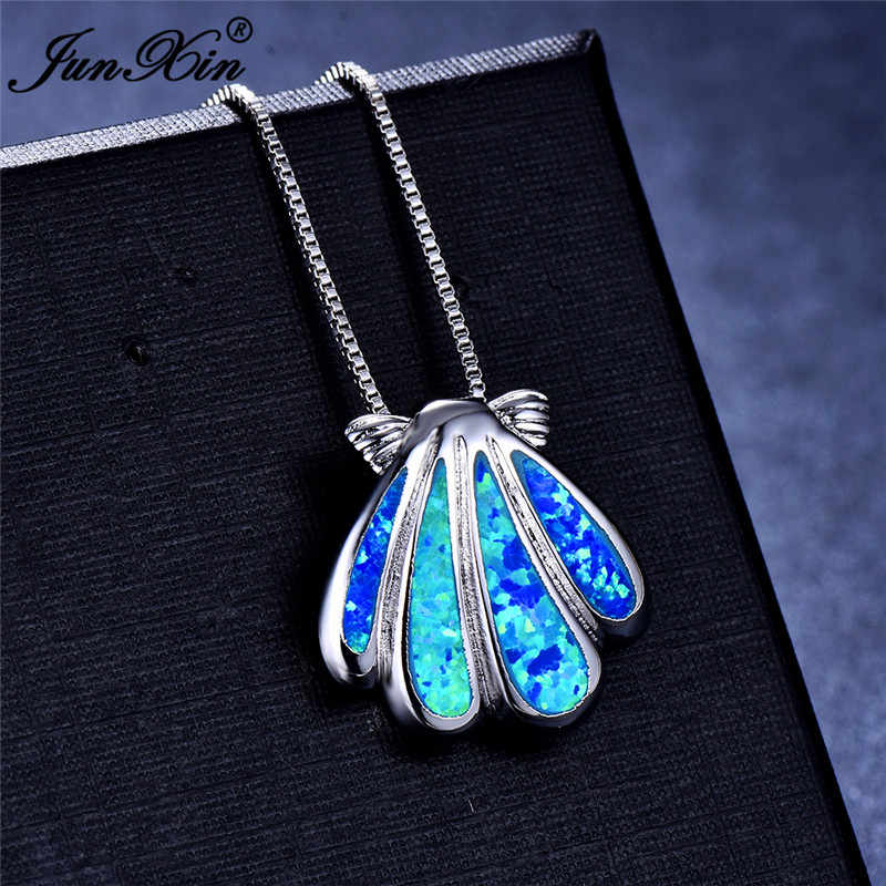 Cute Female Sea Conch Animal Pendants Necklaces 925 Sterling Silver Filled White Blue Fire Opal Stone Necklaces For Women