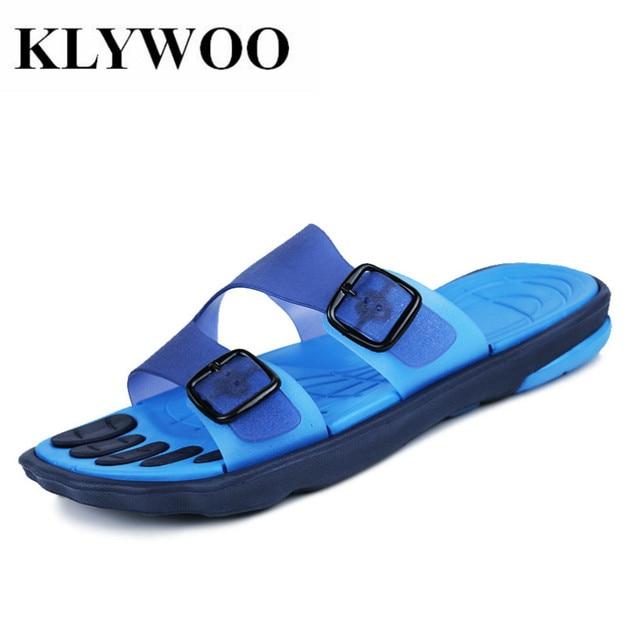 83475c134a5 KLYWOO Sandals Men Fashion Brand Buckle Mens Flip Flop Sandals Casual  Slippers Brown Summer Beach Sandals Men Shoes Breathable