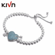 KIVN Fashion Jewelry Adjustable Bolo Cupid Arrow Heart CZ Cubic Zirconia Womens Girls Bridal Wedding Bracelets Birthday Gifts