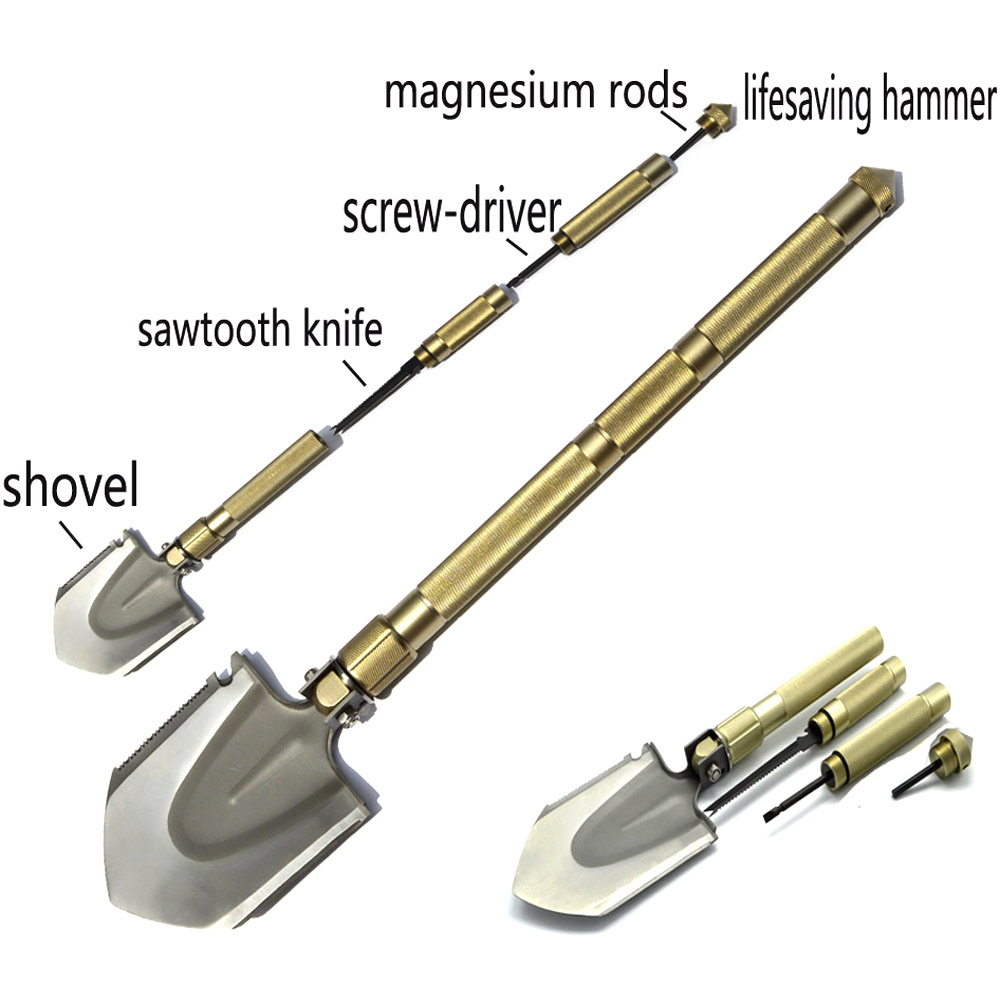 Ordnance shovel folding multifunctional shovel knife screwdriver Aluminum oxidation handle Multi spade Garden Shovel